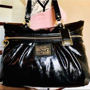 EUC Coach Poppy Black Patent Leather Shoulder Bag